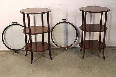 Rare pair antique lift tray top tables etagere marquetry inlaid bedside lamp