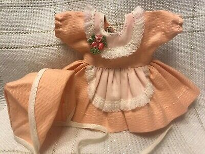 1950s Vintage Doll Clothes DRESS & HAT, Virga, Vogue Ginny, Ginger, Muffie 8""
