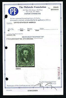 CKStamps: US Stamps Collection Scott#98 15c Lincoln Used with PF Cert