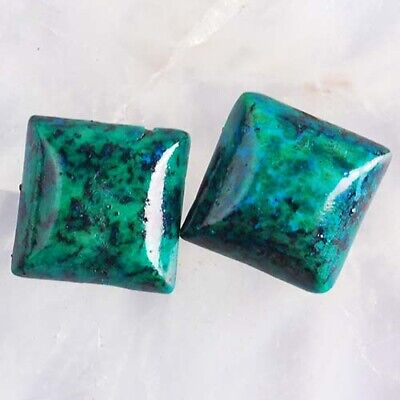 T3600 12x12x3 Pair Lapis Lazuli with Chrysocolla Square CAB Cabochons