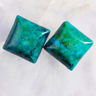 T3634 12x12x3 Pair Lapis Lazuli with Chrysocolla Square CAB Cabochons