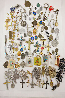 Large Lot of Antique & Vintage Religious Catholic Medals Charms Rosaries Pendant