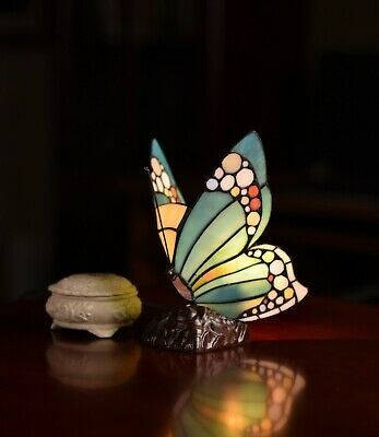 Stunning Blue Butterfly Tiffany Stained Glass Art Deco Fairy Accent Lamp