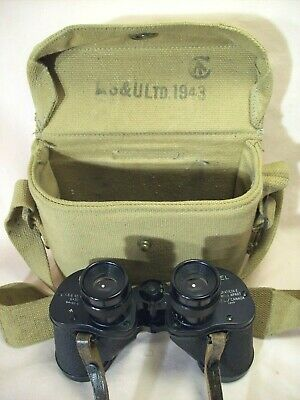 WWII~RESEARCH ENTERPRISES LTD.~BRITISH/CANADIAN BINOCULARS w/ORIG. CANVAS POUCH~
