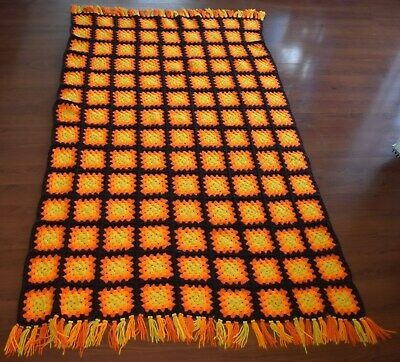 "CLASSIC 1970's Retro Style Handmade AFGHAN Orange Yellow Beige Brown 76"" x 44"""