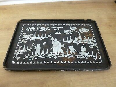 Antique Mother of Pearl Chinese Inlaid Wooden Tray