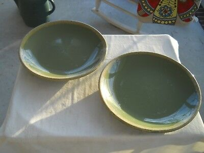 Lot Of 2 Vintage Hull Oven Proof Usa Avocado Green Drip Dinner Plates