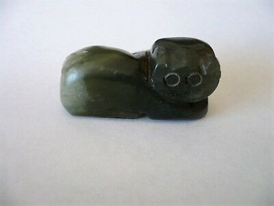 Rare Vintage carved Jade green resting Cat Netsuke