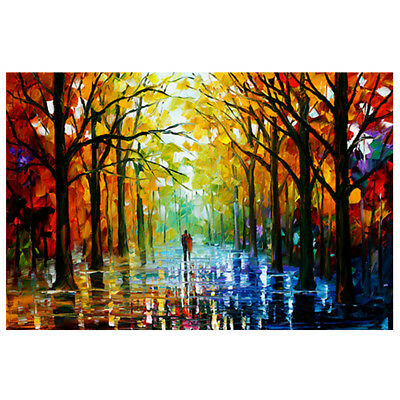Colorful Tree Forest Abstract Canvas Painting Wall Picture Prints Decor Unframed