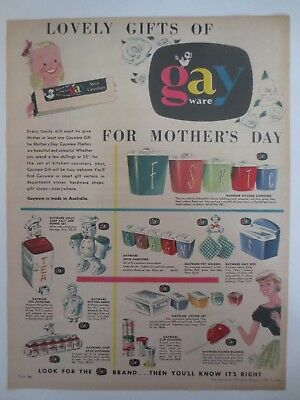 Vintage Australian advertising 1956 ad GAYWARE canisters mother's day art