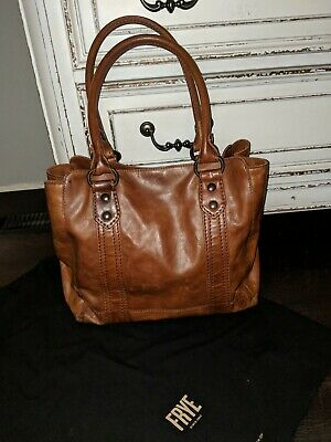 5865b87d9 NWT FRYE MELISSA Whipstitch Cognac Leather Tote Shoulder Bag Purse ...