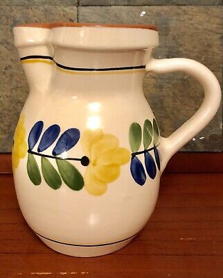 VINTAGE Hand Painted POTTERY WATER PITCHER Folk Art Flowers
