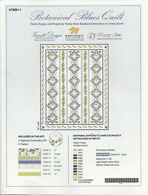Quilt Kit - Botanical Blues Quilt & Embroidery CD by Tracey Sims for Northcott