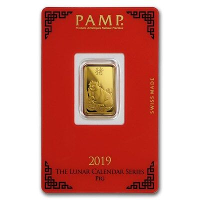 2019 ~ 5~GRAM ~.9999 GOLD ~ YEAR of the PIG ~ PAMP SUISSE ~ SEALED BAR ~ $288.88