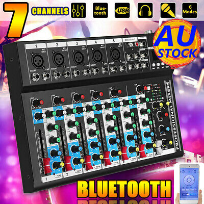 AU Bluetooth 7 Channel Live Audio Mixer Sound Mixing DJ USB Power Console KTV