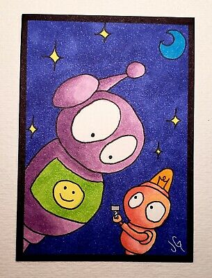 Original art signed MICRO watercolor painting 'Robot Finds Screw' ACEO ATC Card.