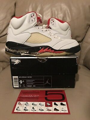6e395d9cbe5a DS 1999 Nike Air Jordan 5 V Size 9.5 Fire Red White Black Original Og 1990