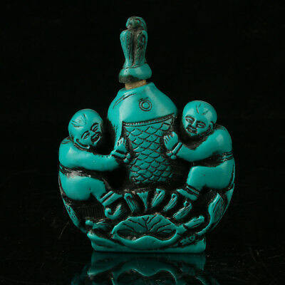 Exquisite Chinese Turquoise Resin Hand Carved Fish & Children Snuff Bottle
