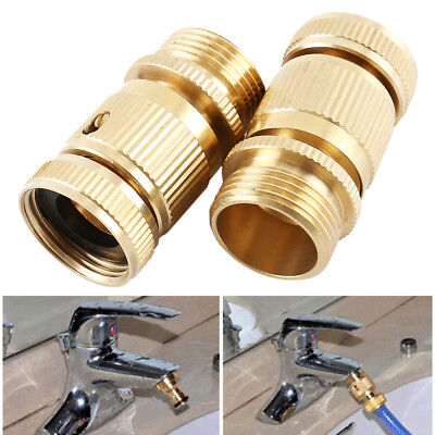 Garden Hose Quick Connector. ¾ inch GHT Brass Easy Connect Fittings ES