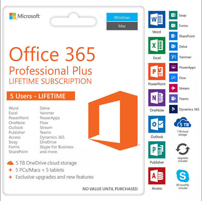 (INSTANT) MS Office 365 PRO PLUS for 5PC/5MAC/5MOBILE - 5TB OneDrive, LIFETIME