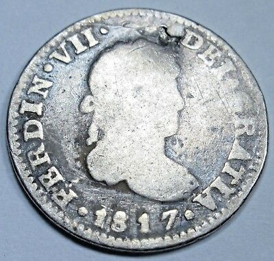 1817 Spanish Silver 1/2 Reales Piece of 8 Real Colonial Pirate Treasure Coin