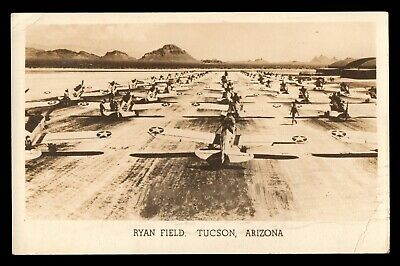 WWII 1943 Real Photo RPPC of Aircraft on RYAN FIELD TUCSON AZ Free Military Mail