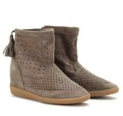 c4ca82ba839e Isabel Marant Beslay Perforated Suede Tassel Ankle Boot Bootie Wedge 39  US  8