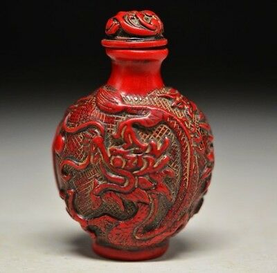 Delicate Chinese Red Coral Resin  Carved  Peony&dragon Snuff Bottle
