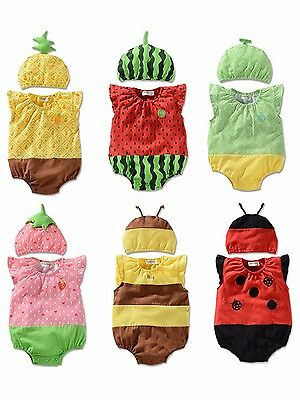 Newborn Kids Baby Boy Girl Infant Fruit Romper Jumpsuit Bodysuit Clothes Outfit