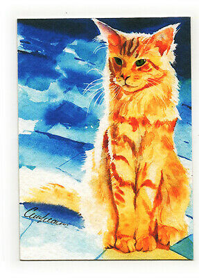 original hand painting drawing watercolor art picture animals ACEO cat signed