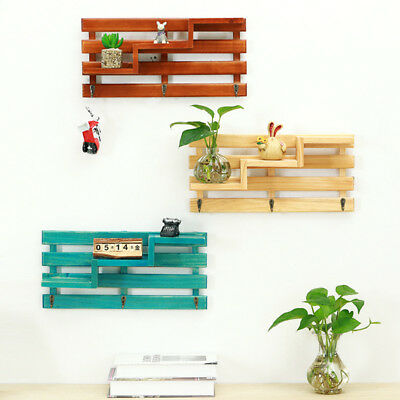 Rustic Solid Wood Stair Wall Shelf Country Vintage Floating Storage Shelves Rack