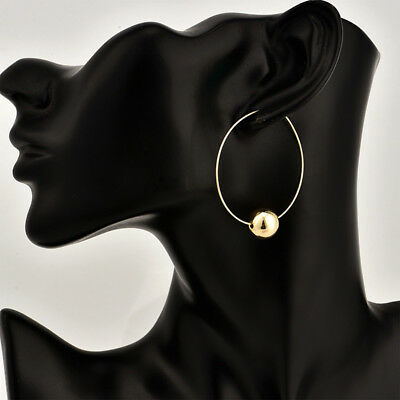 Combination Gold-color Large Circle Beaded Circle Hoop Girls Party Earrings CB