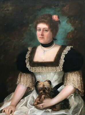 Portrait of a Lady with a Dog Antique Oil Painting 19th Century English School