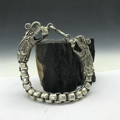 China's Old Miao silver Copper Handmade twist-style creative Dragon Bracelet TT6