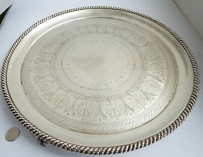 "Stunning Heavy V Large 12"" English Antique Victorian 1881 Sterling Silver Tray"