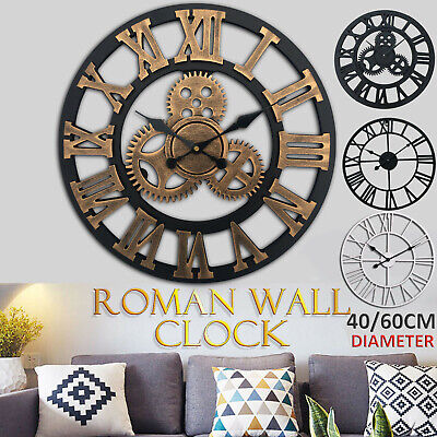 Big Large Outdoor Garden Wall Clock Iron Roman Numeral 40 60CM Round Face Black