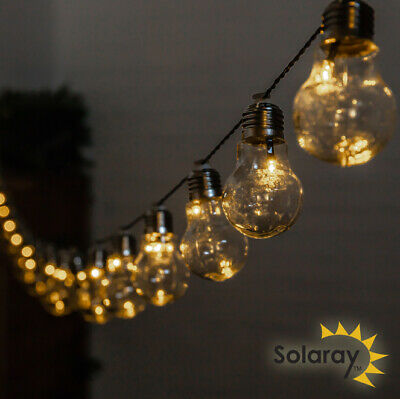 Outdoor String Lights 30 Solar Power Retro Bulbs LED Garden Party 6.35m Solaray™