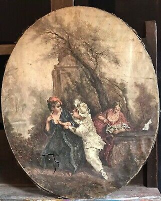FINE 18/19th CENTURY FRENCH LARGE OVAL ROCOCO OIL - FETE CHAMPETRE GALANTE SCENE