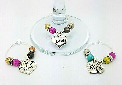 Personalised Mixed Wedding Guest Wine Glass Charms Favours Table Decorations