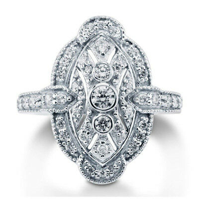 Vintage style Silver Cubic Zirconia CZ Art Deco Fashion Right Hand Ring Size6-10