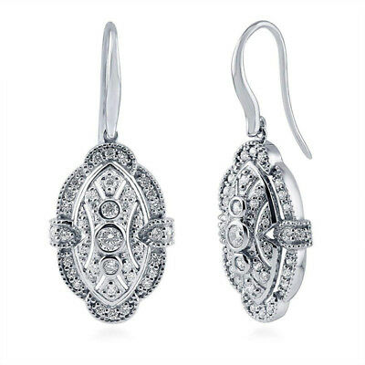princess cut clear Cubic Zirconia CZ Art Deco Silver Fish Hook Dangle Earrings
