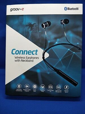 Groov-e Connect GV-BT900-BK Bluetooth Wireless Earphones with Neckband