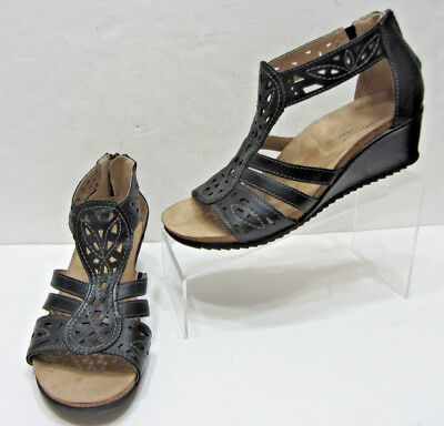 dc98d9675a5 Earth Origins Kingsley Womens 9.5M Black Leather Gladiator Strappy Wedge  Sandals