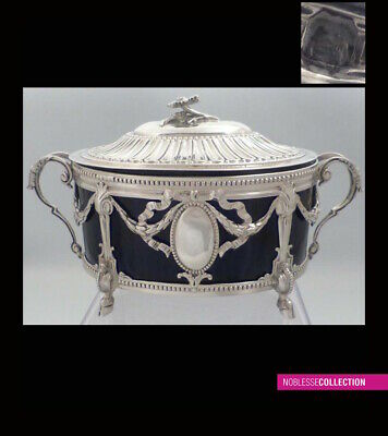LAPAR : ANTIQUE 1880s FRENCH OPENWORK STERLING SILVER SUGAR BOWL Neoclassical st