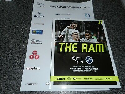 DERBY COUNTY  v  MILLWALL  2018/19  FEB  20th MINT   + *FREE COLOUR TEAM SHEET*