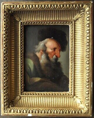 Old Master oil on card portrait of a bearded gentleman 18th century