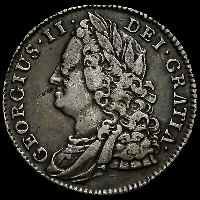 1743 George II Early Milled Silver Sixpence