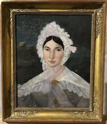 Fine 1800's French Empire Period Portrait Of A Country Lady - Period Gilt Frame