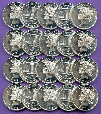 ROLL of 20 ~ 1oz .999 SILVER ROUNDS = 20oz ~ 1993 ~ BY AMERICAN PRECIOUS METALS