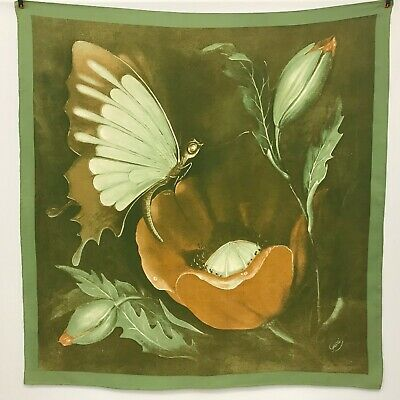 bc76e8775763 Vintage Gucci Silk Scarf Butterfly Flowers Olive Green And Brown Tones Large